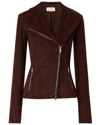 Veste motard en daim marron foncé The Row