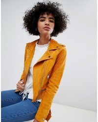 Veste motard en daim orange Vero Moda