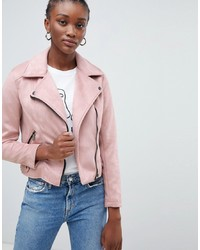 Veste motard en daim rose New Look