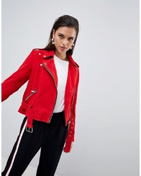 Veste motard en daim rouge Y.a.s