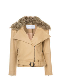 Veste motard en laine brune claire Kimora Lee Simmons