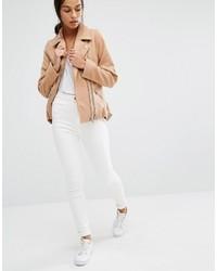 Veste motard en laine brune claire Missguided
