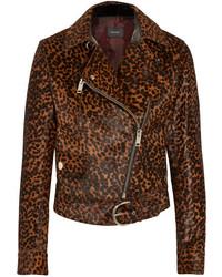Veste motard imprimée léopard marron foncé Isabel Marant