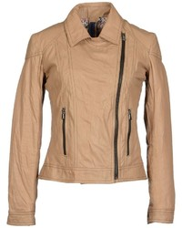 Veste motard marron clair