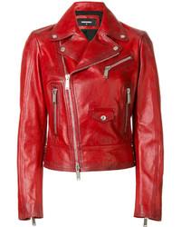Veste motard rouge Dsquared2