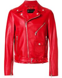 Veste motard rouge Versace