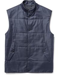Veste sans manches en laine à carreaux bleu marine