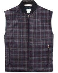 Veste sans manches en laine à carreaux bleu marine Paul Smith