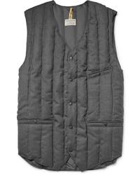 Veste sans manches en laine matelassée gris foncé