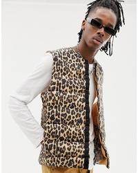 Veste sans manches imprimée léopard marron clair