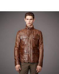Veste style militaire en cuir marron