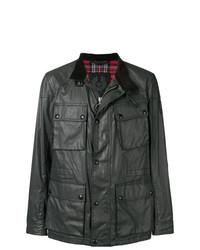 Veste style militaire en cuir noire Belstaff